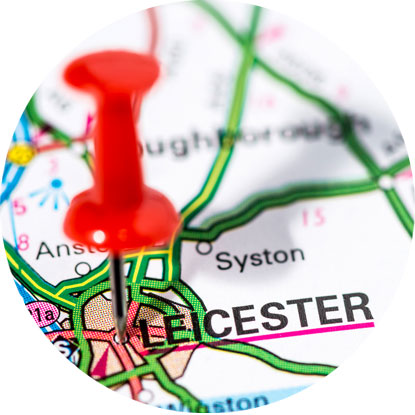 Image of map pin on Leicester  map